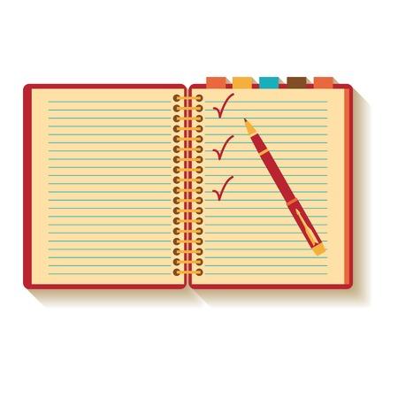 Notebook and pen. Flat design.