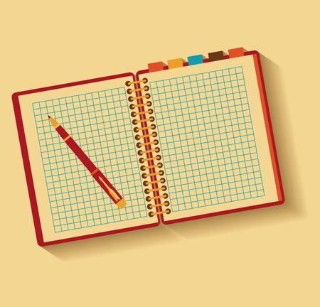 Cuaderno y pluma. Dise�o plano.
