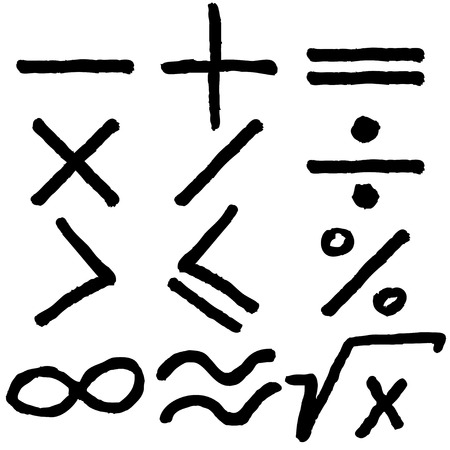 Mano iconos matem�ticas dibujadas dise�o conjunto Vectores