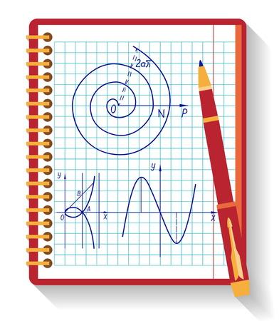 Cuaderno con el gráfico de función matemática. Diseño plano. Vectores