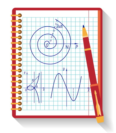 Notebook with mathematical function graph. Flat design.