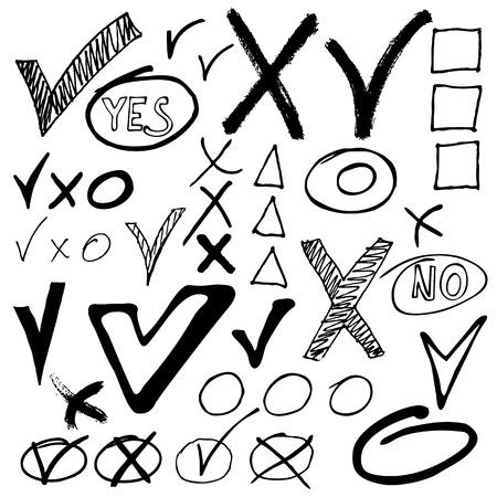 Hand drawn ?heck mark buttons. Sketch vector illustration. Stock Illustratie