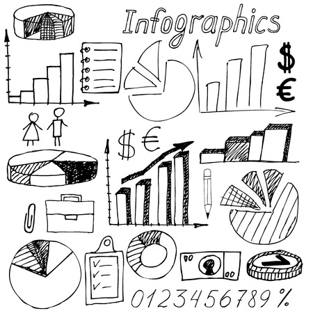 Set of doodle business management infographics elements isolated on white background Vector