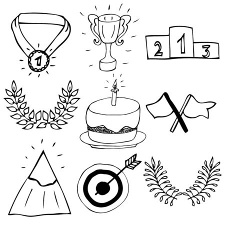 award trophy: Hand drawn trophy and awards icons set Illustration