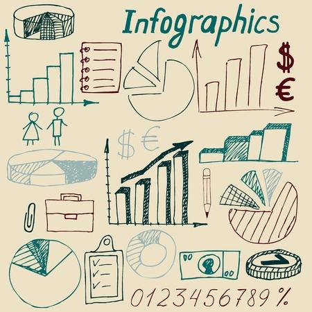 Conjunto de doodle de gesti�n empresarial infograf�as elementos