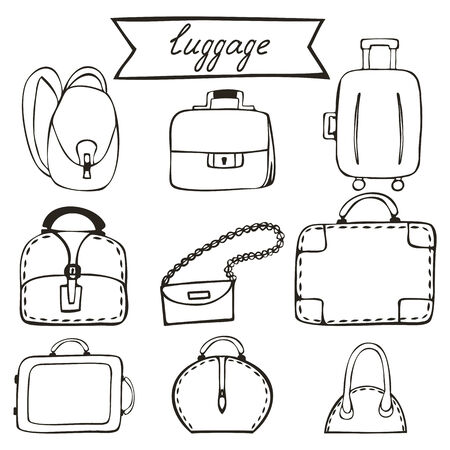 Dibujado a mano iconos equipaje boceto. Conjunto del vector para su dise�o