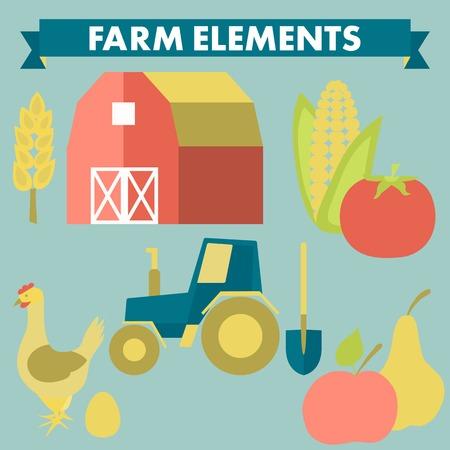 Granja y la agricultura iconos: spica, tractor, pala, ma�z, pollo, huevo, tomate