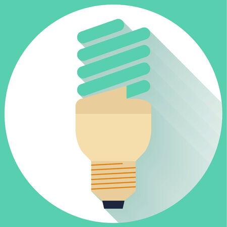 energysaving: Flat Energy Saving bulb icon with long shadow Illustration