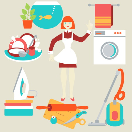 Women doing house work with vacuum cleaner, washing machine, iron,  washing dishes, cooking food Illusztráció