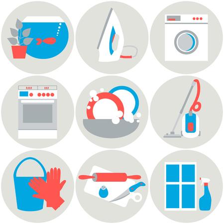 Iconos trabajo Casa. Ilustración del vector. Diseño plano.