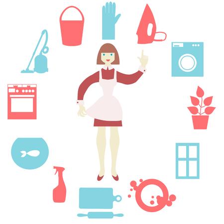 Mujeres que hacen el trabajo de casa con el aspirador, lavadora, plancha, lavar los platos, cocinar los alimentos