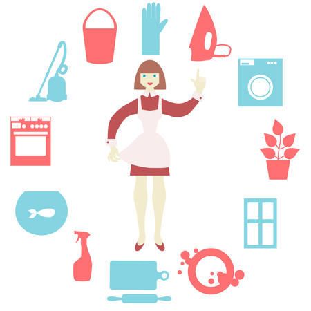 homemaker: Women doing house work with vacuum cleaner, washing machine, iron,  washing dishes, cooking food Illustration