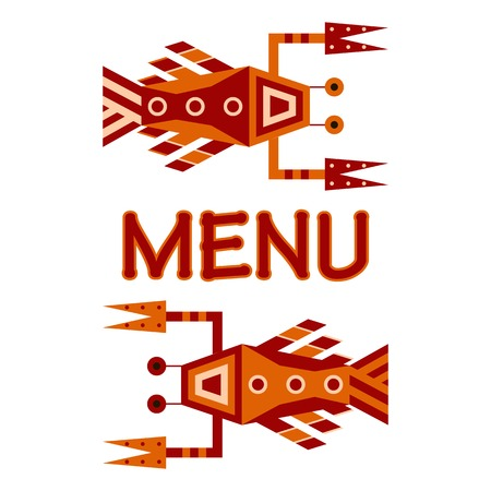 geometric design for seafood menu Vector