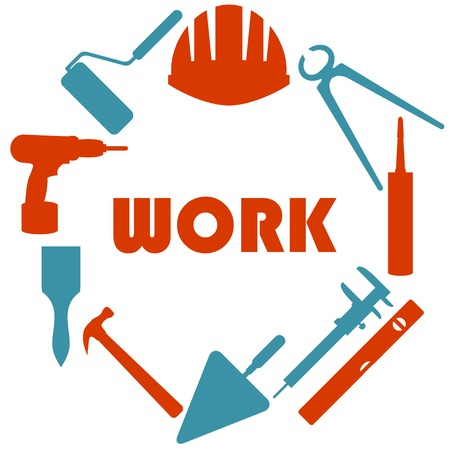 Flat design with house repair icons.