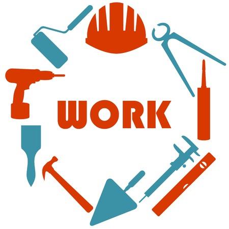 builder symbol: Flat design with house repair icons.
