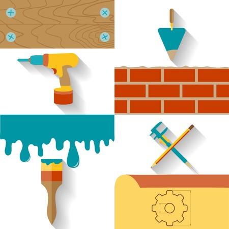 Cepillo de pintura, paleta de cemento, destornilladores, pinzas y planos de construcci�n aisladas sobre fondo blanco