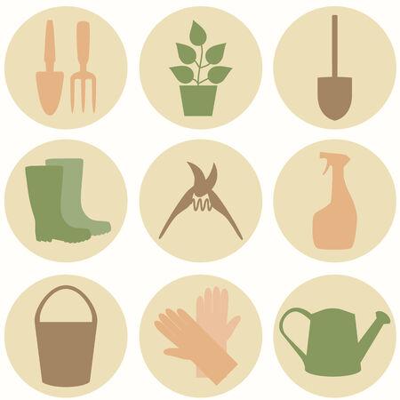 weeder: Flat design set of gardening tool icons isolated on white background.