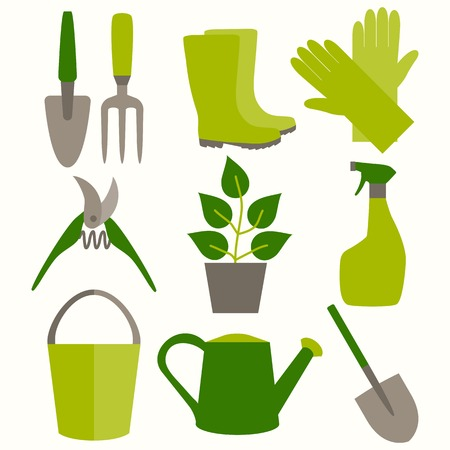 tools icon: Flat design set of gardening tool icons isolated on white background.