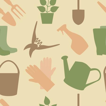 wellingtons: Seamless pattern of gardening tools