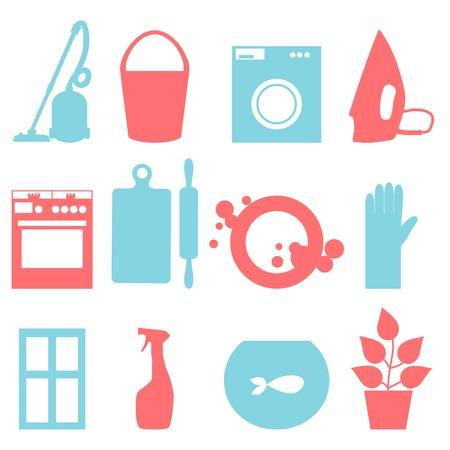 huis opruimen: Twee kleuren iconen van huis schoonmaken. Vector illustratie. Stock Illustratie