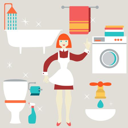 spring cleaning: House work concept. Vector illustration.  Flat design. Illustration