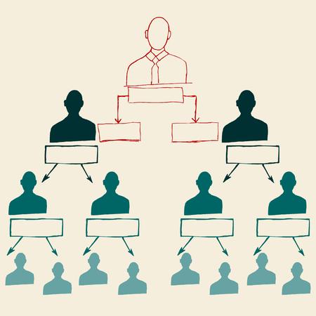corporate hierarchy: Abbozzo disegnato a mano della gerarchia aziendale, rete aziendale
