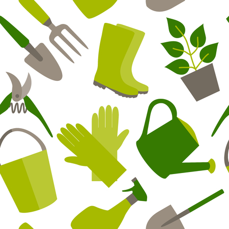 Seamless pattern of gardening tools  Vector