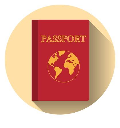 Dise�o plano del pasaporte del vector con el mapa aislado Vectores