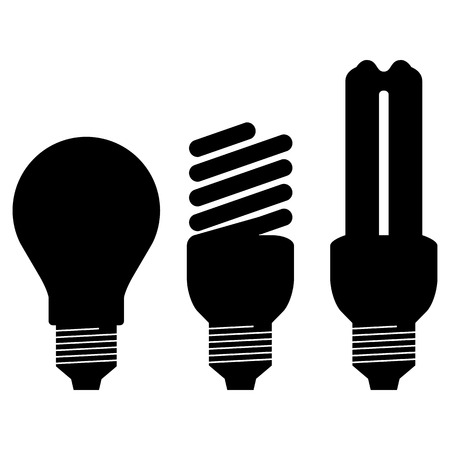 light bulb low: Black silhouette of energy saving bulb isolated on white background