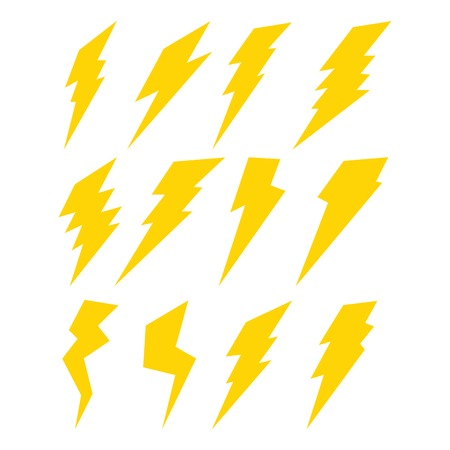Lightning set isolated on white background Vector