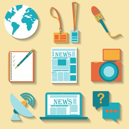 journalism: Flat design set of vector journalism icons. Illustration