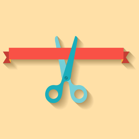Flat design of scissors cutting red ribbon. Vector illustration