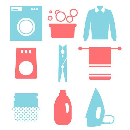 laundry room: Laundry and Washing Icons. Vector illustration.  Flat design.
