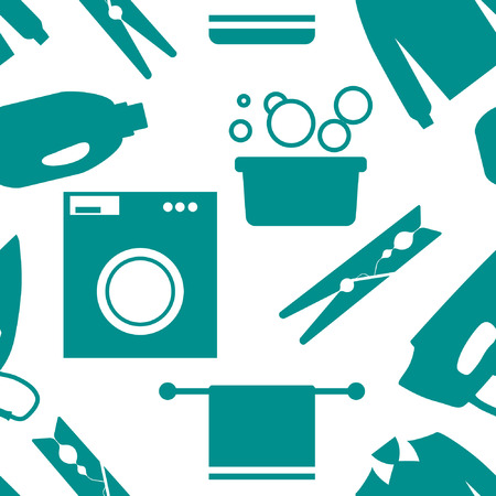 laundry room: Seamless pattern of Laundry and Washing Icons. Vector illustration.  Flat design. Illustration
