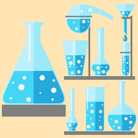 Set of 9 vector test-tubes. Laboratory glassware.