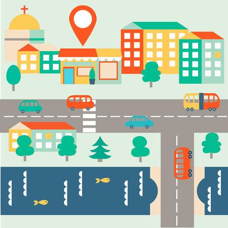 Piso mapa vectorial ciudad con puesto de control Vectores