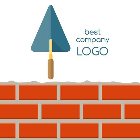 logo batiment: Ciment truelle et mur de briques isolé sur fond blanc