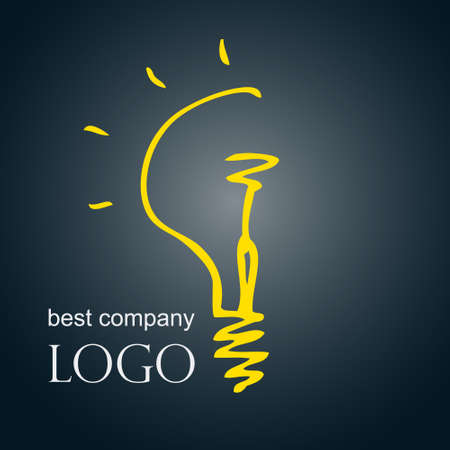 simple logo: Hand drawn sketch bulb light idea vector illustration. Logo concept. Illustration