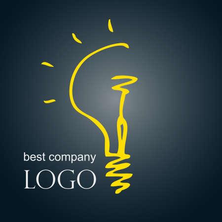 Mano bombilla boceto dibujado idea luz ilustración vectorial. Concepto Logo.