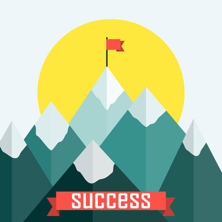 Top of the mountains with red flag. Flat design vector illustration. Vector