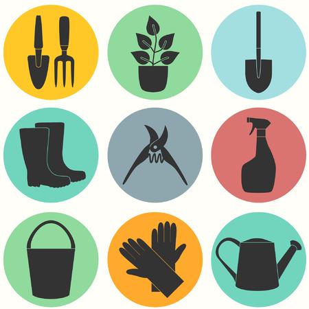 garden stuff: Flat design set of gardening tool icons isolated on white background.