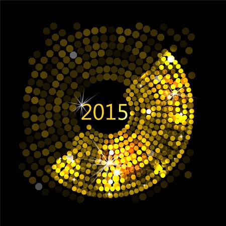 Ilustraci�n del vector del extracto del oro luces de discoteca marco
