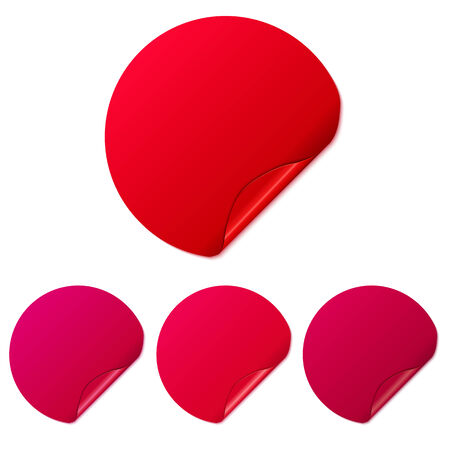 Set of red round stickers. Vector Illustration. Vector