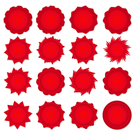 Big set of red promotional stickers. Vector illustration. Vector