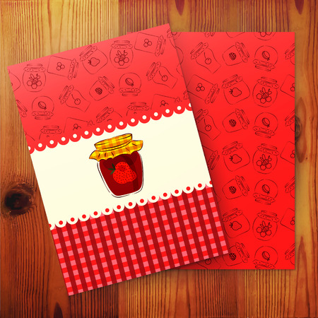 Template of card with strawberry jam. Vector illustration. Vector