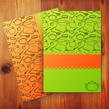 Plantilla de la tarjeta de la cocina, la bandera de la escuela culinaria. Ilustraci�n del vector.