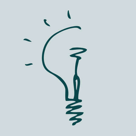 conceptual bulb: Hand drawn sketch bulb light idea vector illustration. Logo concept. Illustration
