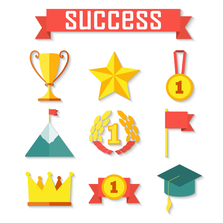 Flat design of set vector award success and victory icons. Vector