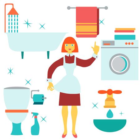 Mujeres que hacen el trabajo de casa en el ba�o. Ilustraci�n del vector. Dise�o plano.