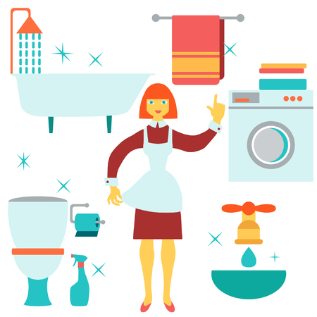 house work: Women doing house work in bathroom. Vector illustration.  Flat design. Illustration